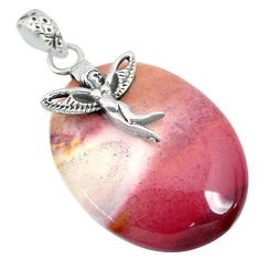 25.89cts natural brown mookaite 925 silver angel wings fairy pendant r90896