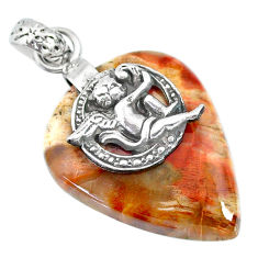 23.23cts natural brown mookaite 925 silver cupid angel wings pendant r90881