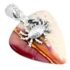 21.29cts natural brown mookaite 925 sterling silver crab pendant jewelry r90897