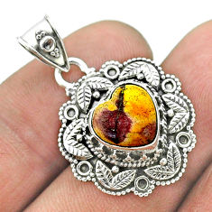 5.15cts natural brown mookaite 925 sterling silver heart pendant jewelry t56143
