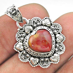 5.15cts natural brown mookaite 925 sterling silver heart pendant jewelry t56216