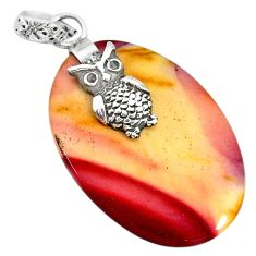22.46cts natural brown mookaite 925 sterling silver owl pendant jewelry r91304