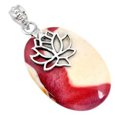 29.61cts natural brown mookaite 925 sterling silver pendant jewelry r90885