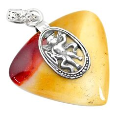 Clearance Sale- 23.97cts natural brown mookaite 925 sterling silver pendant jewelry r90893