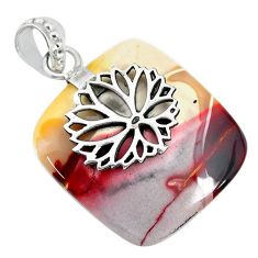 23.97cts natural brown mookaite 925 sterling silver pendant jewelry r90895
