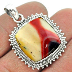 14.26cts natural brown mookaite 925 sterling silver pendant jewelry t55995