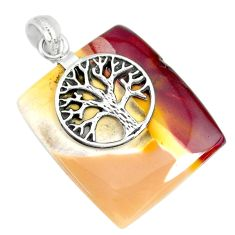 36.72cts natural brown mookaite 925 sterling silver tree of life pendant r90883