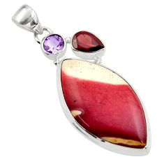 24.46cts natural brown mookaite amethyst 925 sterling silver pendant r45027