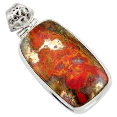 Clearance Sale- 25.00cts natural brown moroccan seam agate 925 sterling silver pendant d42222