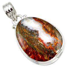 Clearance Sale- 19.23cts natural brown moroccan seam agate 925 sterling silver pendant d42223