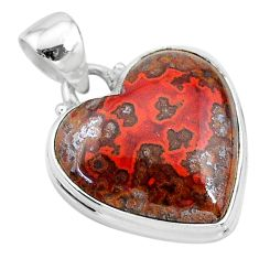 16.73cts natural brown moroccan seam agate 925 sterling silver pendant t13244