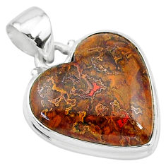 16.20cts natural brown moroccan seam agate 925 sterling silver pendant t13250