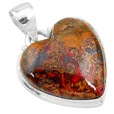 15.08cts natural brown moroccan seam agate 925 sterling silver pendant t13254