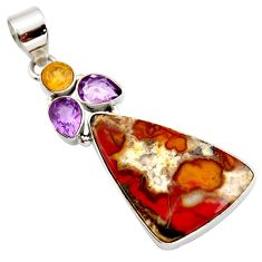 Clearance Sale- 17.22cts natural brown moroccan seam agate amethyst 925 silver pendant d42262
