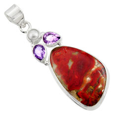 Clearance Sale- 25.57cts natural brown moroccan seam agate amethyst 925 silver pendant d45116