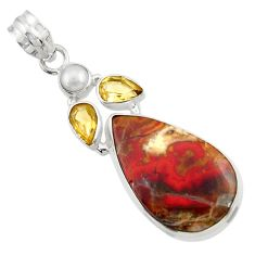 Clearance Sale- 20.65cts natural brown moroccan seam agate citrine 925 silver pendant d45118