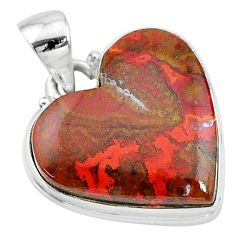 15.65cts natural brown moroccan seam agate heart 925 silver pendant t13245