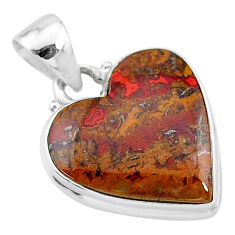 13.70cts natural brown moroccan seam agate heart 925 silver pendant t13255