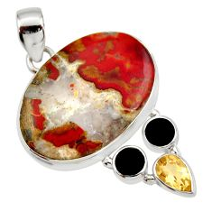 Clearance Sale- 25.00cts natural brown moroccan seam agate onyx 925 silver pendant d42350