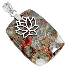 44.96cts natural brown mushroom rhyolite 925 silver flower pendant r91381