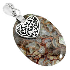 23.10cts natural brown mushroom rhyolite 925 silver heart pendant r91398