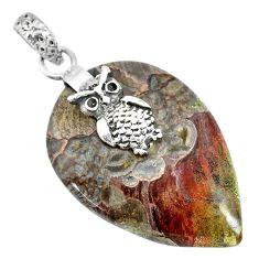 23.87cts natural brown mushroom rhyolite 925 sterling silver owl pendant r91383