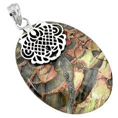 44.41cts natural brown mushroom rhyolite 925 sterling silver pendant r91389