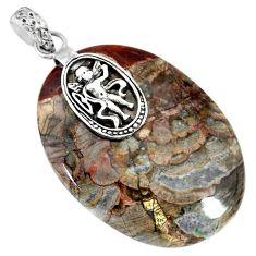 41.27cts natural brown mushroom rhyolite 925 sterling silver pendant r91392