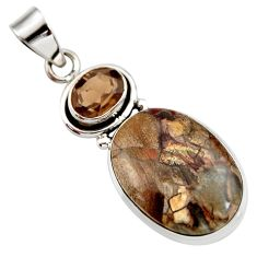 Clearance Sale- 16.73cts natural brown mushroom rhyolite smoky topaz 925 silver pendant d42249