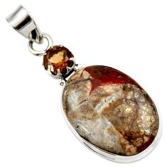 Clearance Sale- 16.73cts natural brown mushroom rhyolite smoky topaz 925 silver pendant d42260