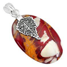 25.66cts natural brown noreena jasper 925 silver deltoid leaf pendant r91257