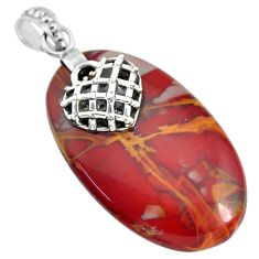 40.67cts natural brown noreena jasper 925 sterling silver heart pendant r91250