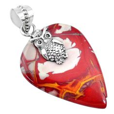 24.49cts natural brown noreena jasper 925 sterling silver owl pendant r74483