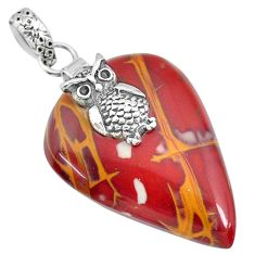 30.87cts natural brown noreena jasper 925 sterling silver owl pendant r91255
