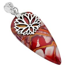 31.46cts natural brown noreena jasper 925 sterling silver pendant jewelry r91256