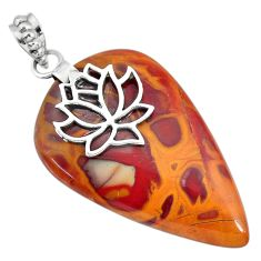 32.97cts natural brown noreena jasper 925 sterling silver pendant jewelry r91259