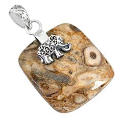 23.97cts natural brown palm root agate 925 silver elephant pendant r91167