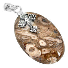 36.50cts natural brown palm root agate 925 silver holy cross pendant r91176
