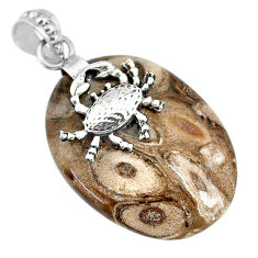 25.09cts natural brown palm root agate 925 sterling silver crab pendant r91179