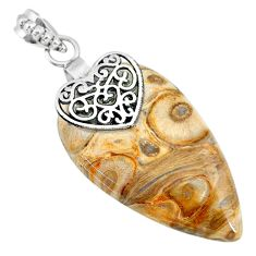 25.79cts natural brown palm root agate 925 sterling silver heart pendant r91175
