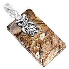 25.82cts natural brown palm root agate 925 sterling silver owl pendant r91178