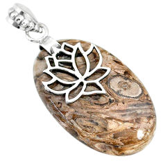 23.97cts natural brown palm root agate 925 sterling silver pendant r91166