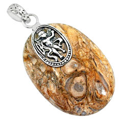 34.44cts natural brown palm root agate 925 sterling silver pendant r91173