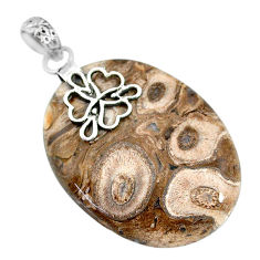 Clearance Sale- 29.80cts natural brown palm root agate 925 sterling silver pendant r91180