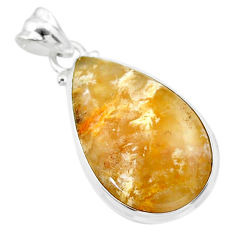 15.05cts natural brown palm root agate 925 sterling silver pendant t26681