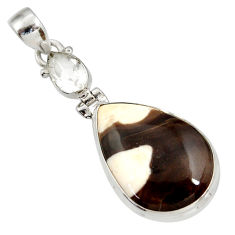18.23cts natural brown peanut petrified wood fossil 925 silver pendant d41366