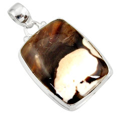23.46cts natural brown peanut petrified wood fossil 925 silver pendant d41391