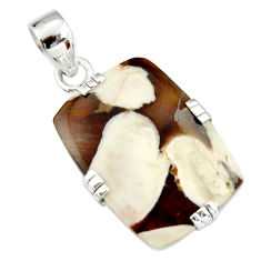 15.36cts natural brown peanut petrified wood fossil 925 silver pendant r20081
