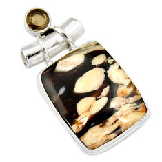 18.70cts natural brown peanut petrified wood fossil 925 silver pendant r20085