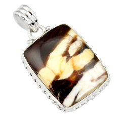 18.15cts natural brown peanut petrified wood fossil 925 silver pendant r20086